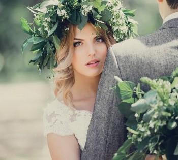 Невеста в образе лесной нимфы. Свадебная фотосессия.